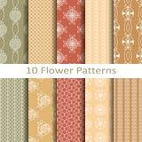 Set of ten flower  patterns Royalty Free Stock Photo