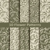 Set of ten flower  patterns Royalty Free Stock Photos