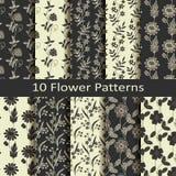 Set of ten flower  patterns Stock Images