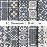 Set of ten geometric patterns Royalty Free Stock Photo