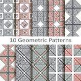 Set of ten geometric patterns. Set of ten  geometric patterns Royalty Free Stock Image