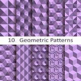 Set of ten geometric patterns. Set of ten vector geometric patterns vector illustration