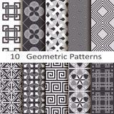 Set of ten geometric patterns. Set of ten vector geometric patterns stock illustration