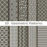 Set of ten geometric patterns. Set of ten vector geometric patterns royalty free illustration