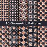 Set of ten geometric patterns. Set of ten vector geometric patterns Stock Photo