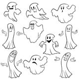 Set of ten ghost outline Stock Photo