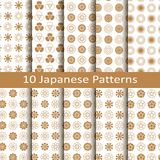 Set of ten golden japanese seamless vector patterns with flower design. design for packaging, covers, textile. Set of ten golden japanese circle seamless vector Stock Image