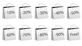 A set of ten gray realistic bulk paper bags for shopping with rope handles and discounts of 10, 20, 30, 40, 50, 60, 70, 80, 90% an. D for free on a white stock illustration