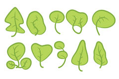 Set of ten green trees Stock Image