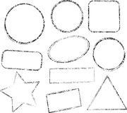 Set of ten grunge black vector templates for rubber stamps Royalty Free Stock Photography