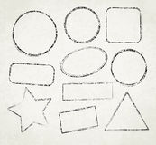 Set of ten grunge vector templates for rubber stamps on old pape Royalty Free Stock Photo