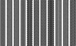 Set of ten grunge vector traces of tires. Royalty Free Stock Images