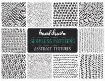 Set of ten hand drawn ink seamless patterns. Royalty Free Stock Image