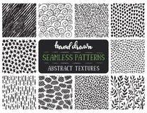 Set of ten hand drawn ink seamless patterns. Stock Photos