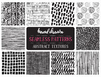 Set of ten hand drawn ink seamless patterns. royalty free illustration