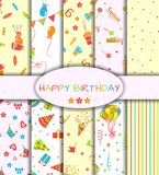 Set of ten happy birthday patterns. Vector illustration Stock Photography