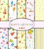 Set of ten happy birthday patterns royalty free illustration