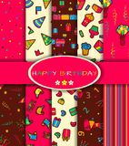 Set of ten happy birthday patterns Stock Photo