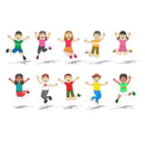 Set Of Ten Happy Kids with jump position Vector Illustration Royalty Free Stock Image