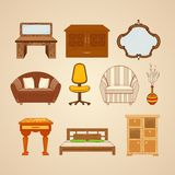 Set of ten illustrations of home furnishings Stock Image