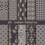 Set of ten Indian patterns Royalty Free Stock Images