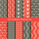 Set of ten indian patterns Stock Photos