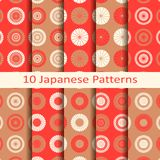 Set of ten japanese circle seamless vector patterns with flower design. design for packaging, covers, textile. Set of ten red japanese circle seamless vector Royalty Free Stock Photo