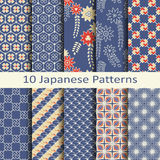 Set of ten japanese patterns. Set of ten  japanese patterns Royalty Free Stock Images