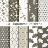 Set of ten Japanese patterns. Set of ten vector Japanese patterns Stock Image