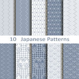 Set of ten Japanese patterns. Set of ten vector Japanese patterns Stock Photo