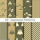 Set of ten Japanese patterns. Set of ten vector Japanese patterns Royalty Free Stock Images