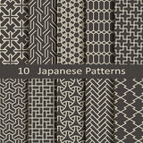 Set of ten Japanese patterns Royalty Free Stock Images