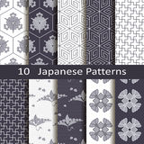 Set of ten Japanese patterns Stock Image