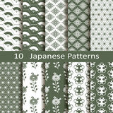 Set of ten Japanese patterns. Set of ten vector Japanese patterns Royalty Free Stock Photo