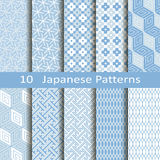 Set of ten Japanese patterns Stock Photo