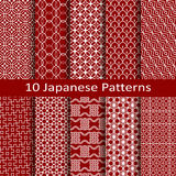 Set of ten Japanese patterns. Set of ten vector Japanese patterns Stock Photos