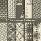 Set of ten japanese patterns. Set of ten vector japanese patterns Royalty Free Stock Photos