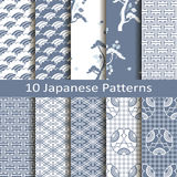 Set of ten japanese patterns Stock Photos