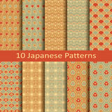 Set of ten japanese patterns. Set of ten vector japanese patterns Stock Images