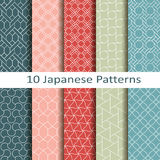 Set of ten japanese patterns. Set of ten vector japanese patterns Royalty Free Stock Photography