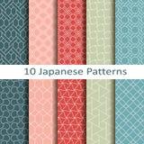 Set of ten japanese patterns Royalty Free Stock Photography