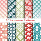 Set of ten japanese  patterns. Vector Set of ten japanese patterns Royalty Free Stock Image
