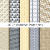 Set of ten japanese  patterns Stock Photos