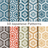 Set of ten japanese  patterns. Vector Set of ten japanese patterns Royalty Free Stock Images