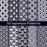 Set of ten japanese patterns. Vector set of ten japanese patterns Royalty Free Stock Photos