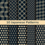 Set of ten japanese patterns. Vector set of ten japanese patterns Stock Photo