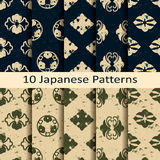 Set of ten japanese patterns. Vector set of ten japanese patterns Stock Photography