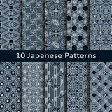 Set of ten japanese patterns. Vector set of ten japanese patterns Royalty Free Stock Photo