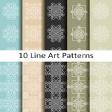 Set of ten line art patterns Stock Images