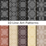 Set of ten line art patterns Royalty Free Stock Photography